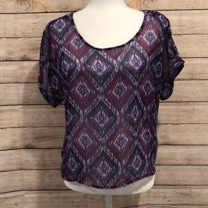 Sheer purple and blue diamond blouse